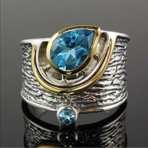 Blue gold silver three tone ring